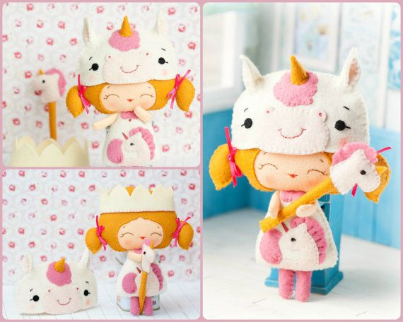 PDF Baby unicorn princess doll. Plush Doll Pattern by Noialand, $7.00