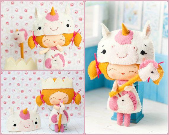 PDF unicorno principessa bambola. Peluche morbido Doll di Noialand, $7.00
