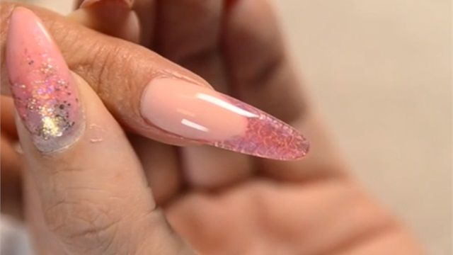 Sculpted Stain Glass Gel Nails with Crinkle Effect