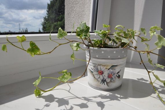 Plant pot flower pot planter shabby chic by AgaArtFactory on Etsy