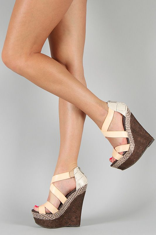 Dollhouse Precise Criss Cross Platform Wedge $32.80
