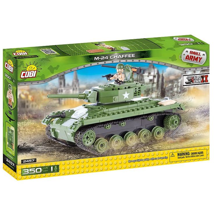 Cobi Small Army American M24 Chaffee Construction Blocks Building Kit, Multicolor