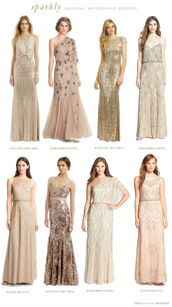 Sparkly bridesmaid dresses in neutral tones / http://www.deerpearlflowers.com/2015-wedding-trends-sequined-metallic-bridesmaid-dresses/2/