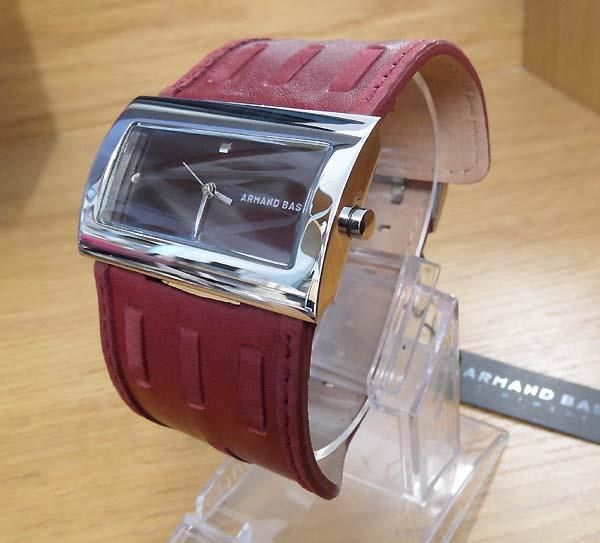 Ladies Retro Slim S/Steel & Wide Cuff Leather Burgundy Armand Basi Watch NiB #ArmandBasi