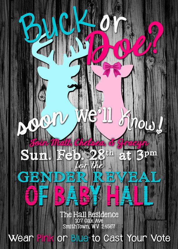 Buck Or Doe Gender Reveal Party Invitation by Live2LoveAndCreate