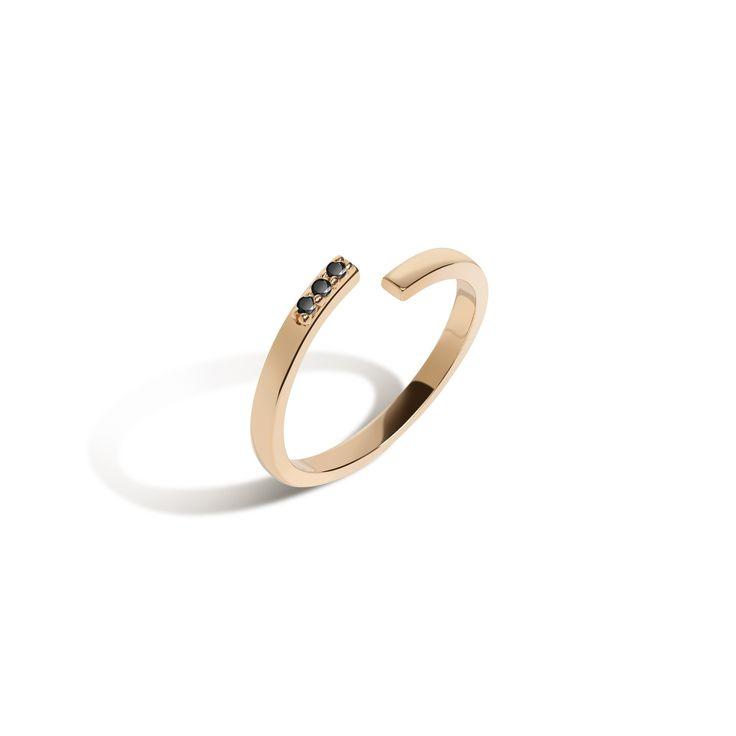 Mini Wraparound Ring with Black Diamonds
