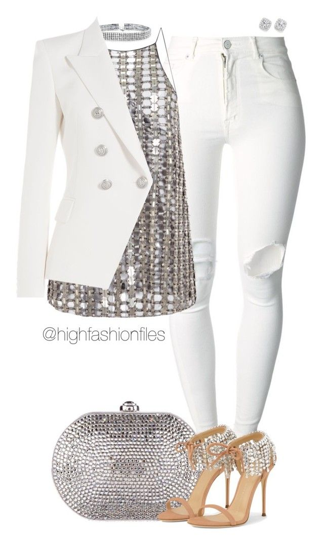 """""""Untitled #2654"""" by highfashionfiles on Polyvore featuring (+) PEOPLE, Judith Leiber, Wes Gordon, Bling Jewelry, Balmain and Bloomingdale's"""