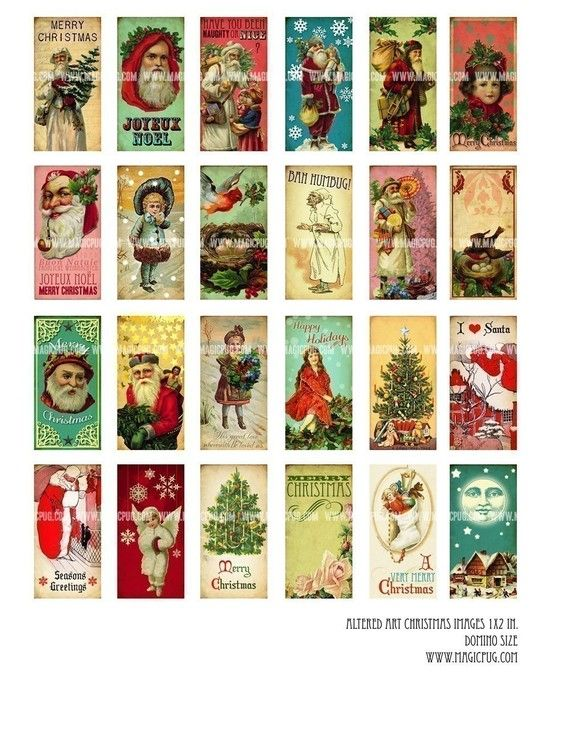 24 Altered Art Christmas Images Domino tile digital collage sheet 1x2 inch 25mm x 50mm Père Noël Father $3.50christmas Saint Nick.  via Etsy via Lori Fury/Magic Pug