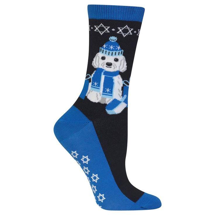 Hot Sox Womens Dreidel Dog Non-Skid Sock