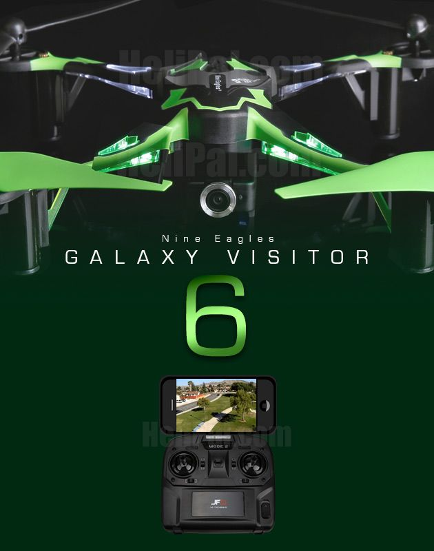 Built-in FPV system for your Smartphone, great beginner's choice http://www.helipal.com/nine-eagles-galaxy-visitor-6-drone-w-fpv-system.html