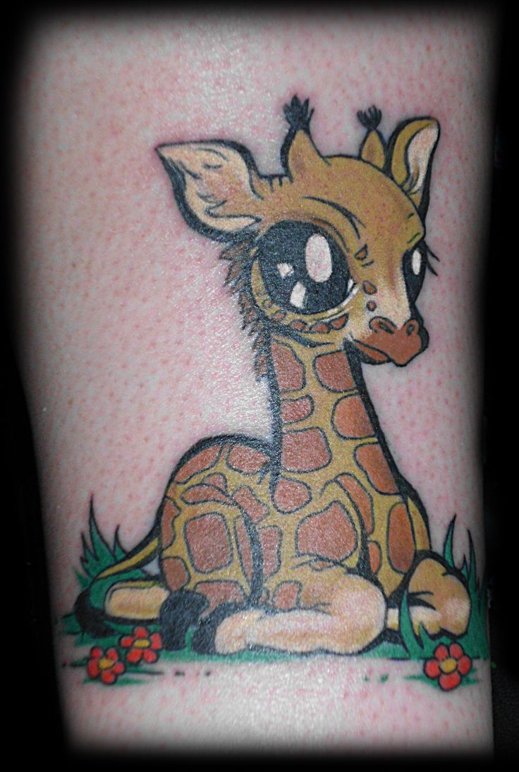 Mom And Baby Giraffe Tattoo Outline