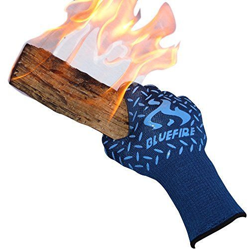 BlueFire Pro Heat Resistant Oven Grilling Welding Gloves Great for Big Green Egg or Fireplace Accessories Cut Resistant Forearm Protection 100 Kevlar EN 407 Certified 932F Heat Resistance ** Find out more about the great product at the image link.