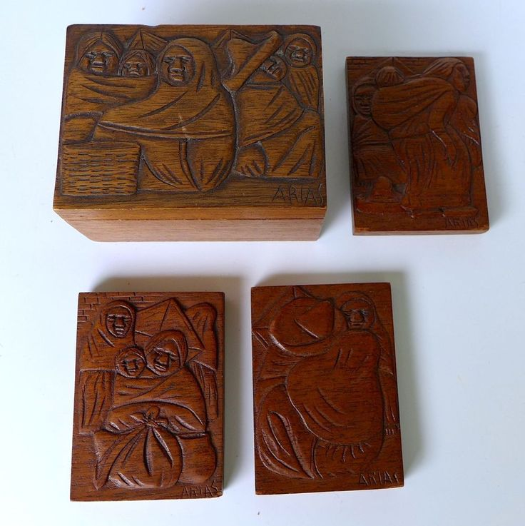 Unusual set vintage mexican bas relief wood carving