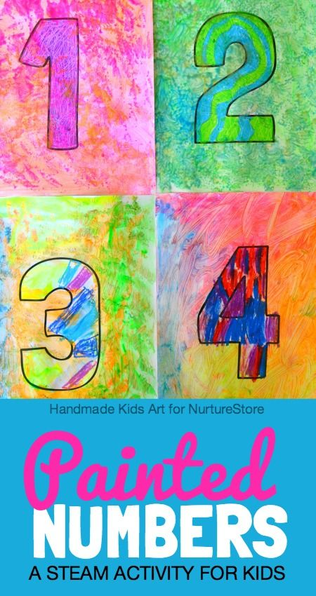 Painted numbers art and math STEAM activity for kids - a Jasper Johns art project for kids, makes a beautiful number line display