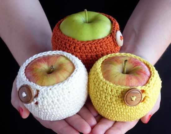 crocheted apple cozies