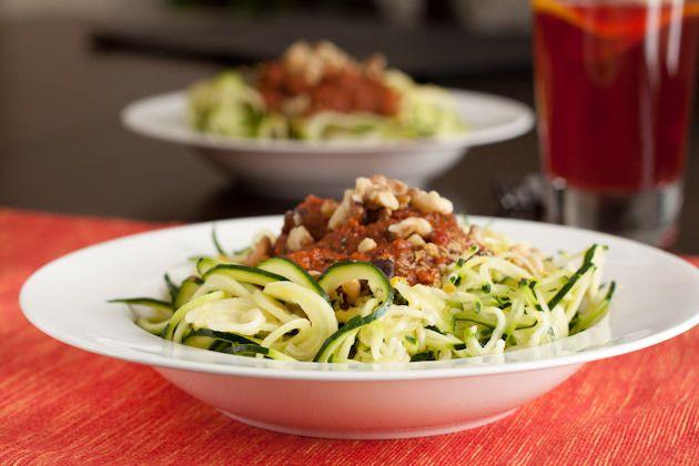 Raw Tomato Basil Zucchini Pasta  [Vegan, Gluten free, Dairy free, Sugar free, Yeast free, Corn free] by Leanne Vogel at Healthy Pursuit