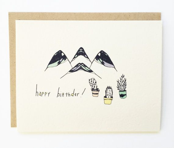 Cactus and Mountian Birthday  Hand Illustrated by Drawnandcolored