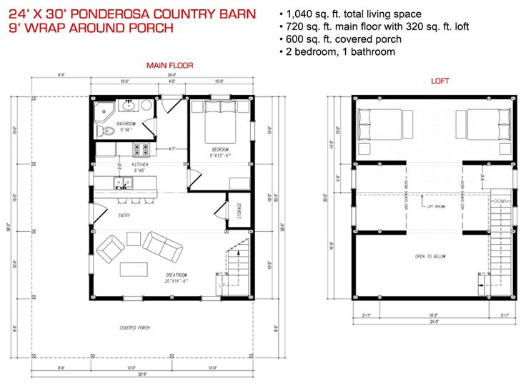 24x30 Floor Plan Pre designed Ponderosa Barn Home Kit