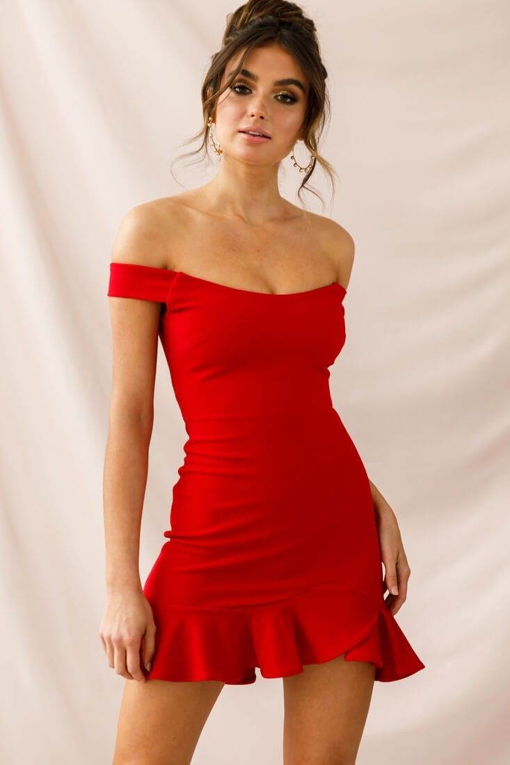 305d3115dc8a Shop the Brigitte Off-Shoulder Mini Dress Red