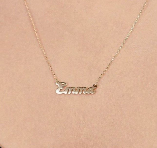 14k Gold Custom Name Necklace Personalized Name Necklace Initial Necklace In 14k Or 10k Solid Gold In 2020 Custom Name Necklace Initial Necklace Name Necklace