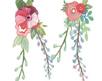 Z Floral Letter Illustration Typography Print by Makewells