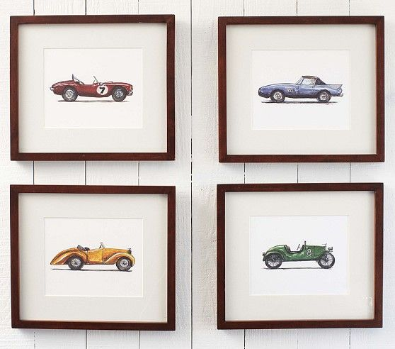 Vintage Roadster Framed Art Set | Pottery Barn Kids