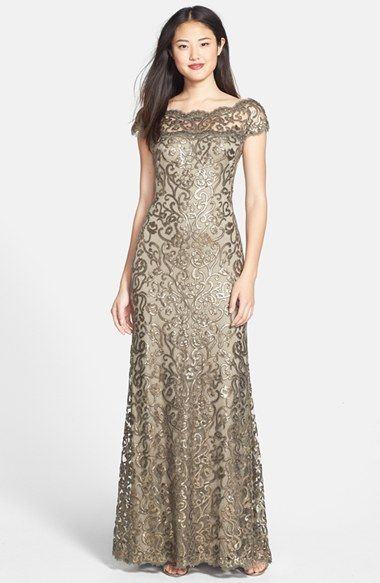 Tadashi Shoji Illusion Yoke Sequin Embroidered Trumpet Gown at Nordstrom.com. Gilded sequins swirl in gorgeous filigree all over a breathtaking trumpet gown graced with a beautifully scalloped illusion neckline.