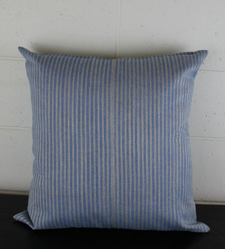 Unique Blue and White Stripe European 100% Linen Fabric Cushion Cover Bespoke Design by Peacock & Penny. 50cm x 50cm. Jane Churchill Fabric. by PeacockandPenny on Etsy