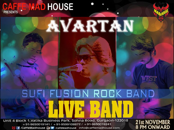 The count down has begun, so book your tables right away as Caffe Mad House brings Avartan Band Live just for you!! #WeekendGetAway #AvartanLive #SufiFusion #retro #musiclover #liveperformance