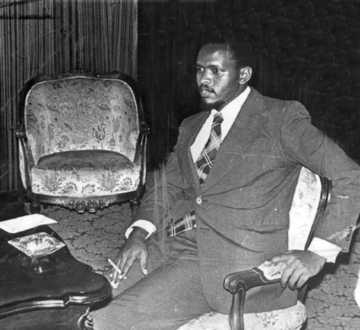 A 1977 file photo shows Black Consciousness Movement (BCM) founder Steve Bantu Biko. Five former senior South African Police officials, have applied for amnesty before the Truth and Reconciliation Committee in Port Elizabeth, for their involvement in the murder of Biko while in detention in 1977.