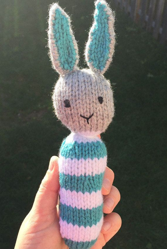 Knitted bunny rattle, baby toy by OnlyOneKnitToys