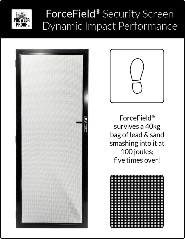 You will always feel secure behind a Prowler Proof - ForceField® security screen. It passes the Australian Standard for dynamic impact with ease - it has withstood forces that no human could apply. Prowler Proof is a proudly Australian owned company.