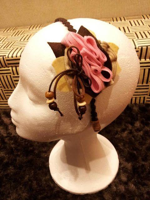 CREACIONES LIBERTAD: Dulce diadema/tocado marrón y rosa.