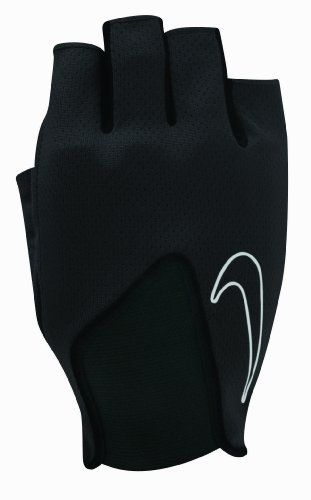 Nike Men's Core Training Gloves (Black/White, Medium) by Nike. $10.39. Mesh to back of hand / Keeps hand cool and dry for increased breathability. Elastic back of hand panel / Creating best Fit. Padded synthetic-leather palm / One-piece design with stitched flex grooves puts padding where it's needed most. Extended fingers, with extended middle finger / Easy removal. Embroidered outlined Swoosh logo on webbing