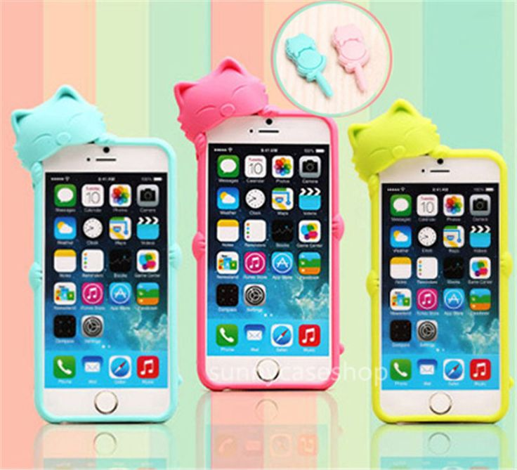 3D Cute Kiki Cat lovely Silicone Rubber Case Cover for Apple iphone 6 plus 5S 4S #Romrichcaseshop