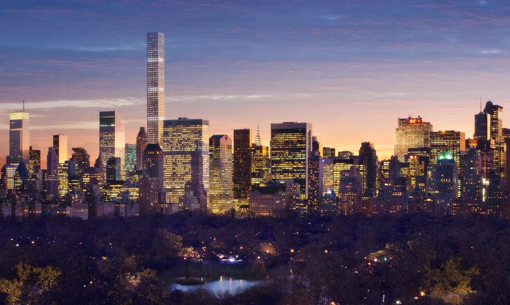 432 Park Avenue | Rafael Viñoly Architects | Southeast view from Central Park; rendering: dbox