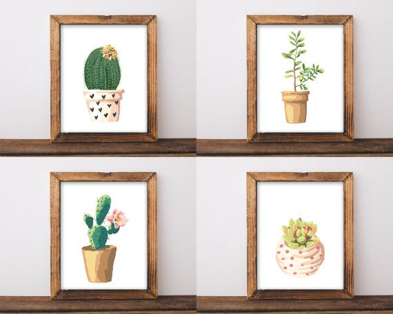 set of 4 prints printable art, botanical print set, cactus print, cactus wall art, botanical poster, succulent art