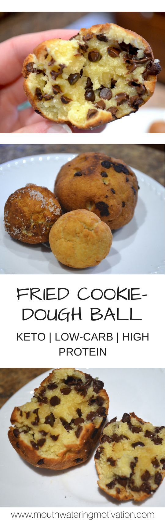 Fried Keto Cookie Dough Ball #lowcarb #keto #chocolatechipcookies #coconutoil
