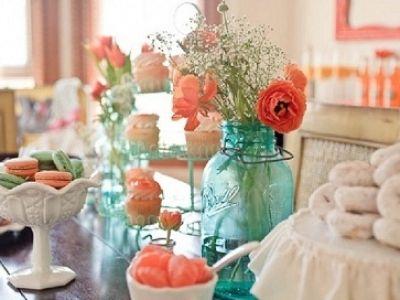 super cute & vintage: Coral, Wedding Color, Wedding Ideas, Colors, Bridal Shower, Mason Jars, Baby Shower