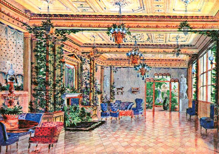 И.А.Гох. Салон в доме барона Штиглица на Каменном острове. Акварель. 1850.