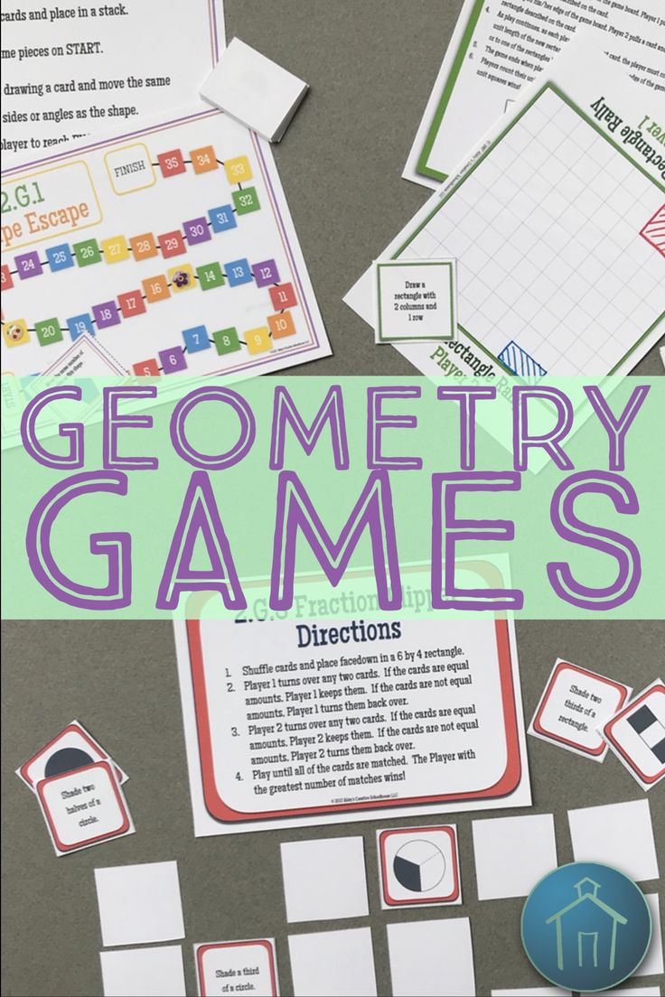 Are you looking for engaging and fun math games for your second grade students?  Check out these low prep, printable geometry math games for second grade Common Core standards 2.G.1, 2.G.2, and 2.G.3!  Your 2nd grade students will love practicing with shapes, partitioning rectangles, and matching fractions.  Include these geometry games for kids in math centers or use with small groups.  Click now to add these games to your classroom math time!