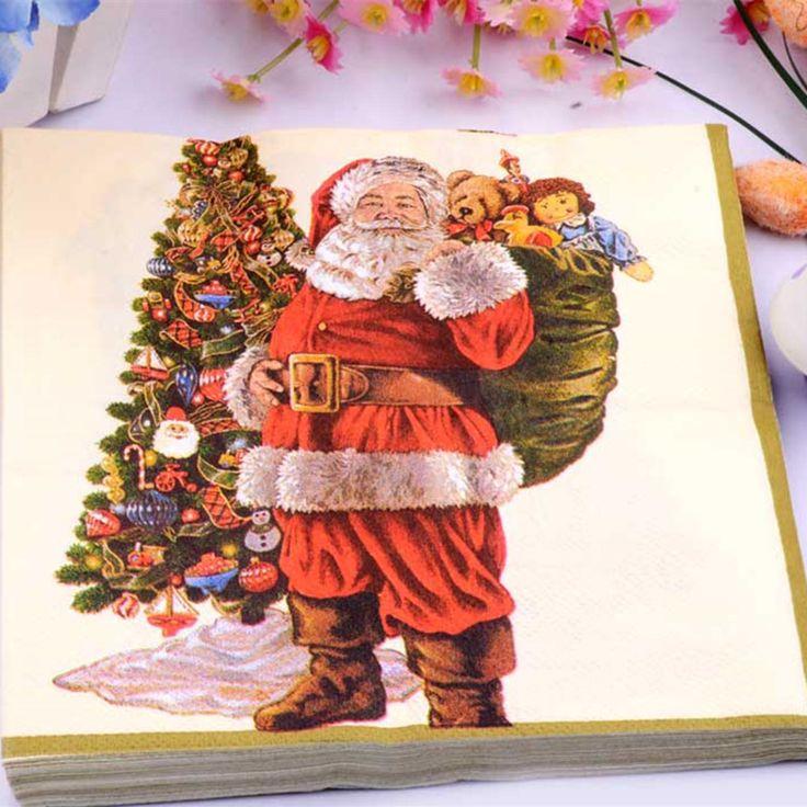 33*33 cm 20 PCS/Pack Natal Santa Claus Paper Napkin Party 100% Virgin Kayu Kertas Serbet untuk pesta makan malam dekorasi