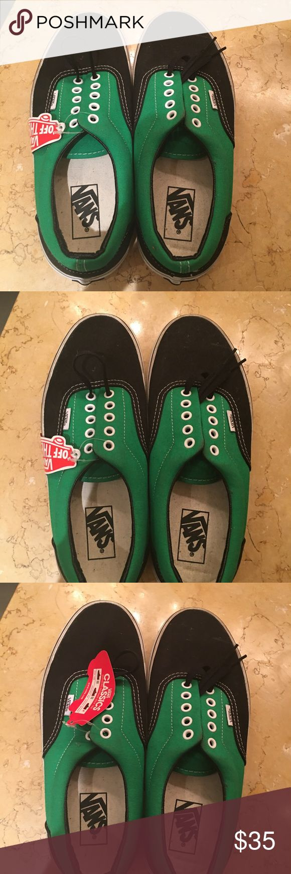 New with tags classic Vans lace ups Never ever worn. Tags still on. Black and green classic Vans lace ups with black shoe laces. Vans Shoes Boat Shoes