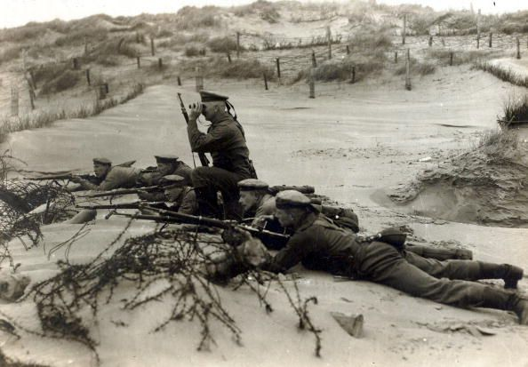 WWI,Belgium. A German marine section on the dunes near Ostend.
