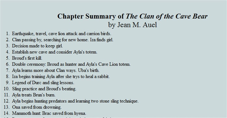 a chapter by chapter summary of clan of the cave bear by jean auel Multi-paragraph summary of a chapter  like jean m, auel's other two books, the clan of the  been reared by the clan of the cave bear only to be ejected.