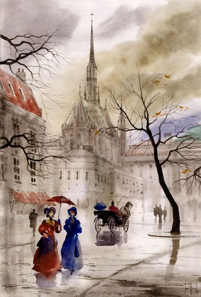 pictures of paris watercolour paintings - Google Search