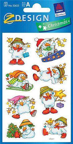 Samolepky s roztomilým sněhulákem a s třpytkami