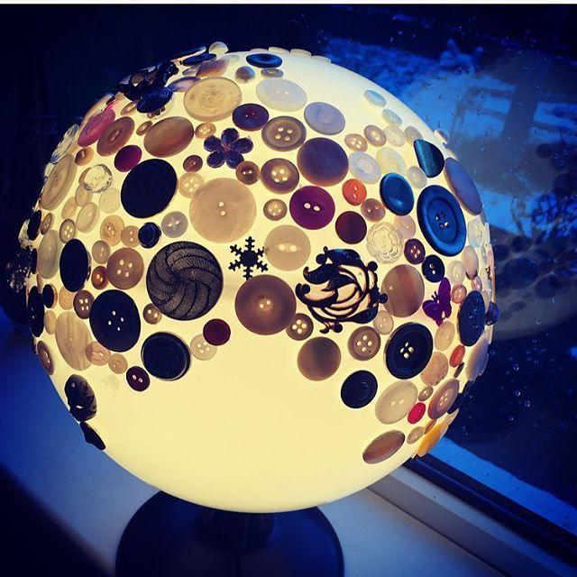 Whoa, Look at the moon! #JanuaryFullMoon #IceMoon #Illuminate #Luna #UpcycledLamp #VintageButtons