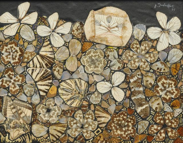 "Dubuffet. Butterfly wing collage, 9"" x 11-1/2"" (22.9 cm x  29.2 cm)."