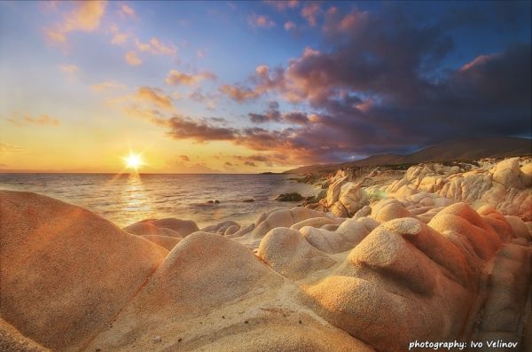 Sunrise over Diaporos island, Vourvourou